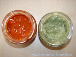 kanarische Saucen: Mojo verde - Mojo rojo